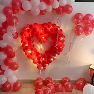 Glowing Red & White Balloon Decor