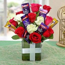 5 Star Dairy Milk & Flower Bouquet