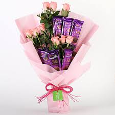 Pink Roses & Dairy Milk Silk Chocolate Bouquet