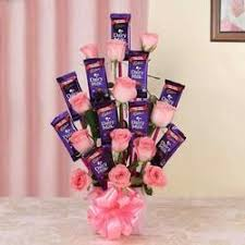 Pink Roses and Dairy milk Chocolate Bouquet