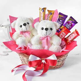 Twin Teddy With Chocolates Hamper