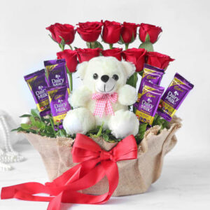 Charming Teddy With Roses and Dairy Milk